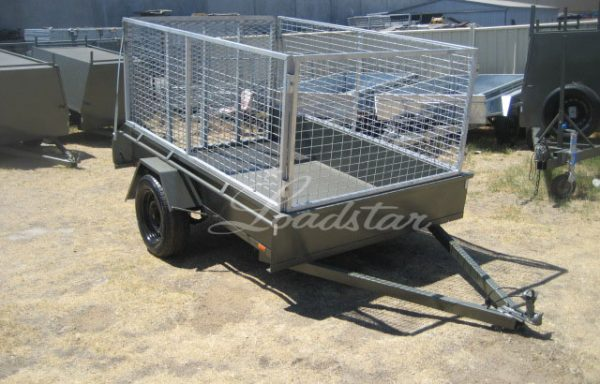 8x5ft Trailer with 900mm Cage & Spring Loaded Ramp