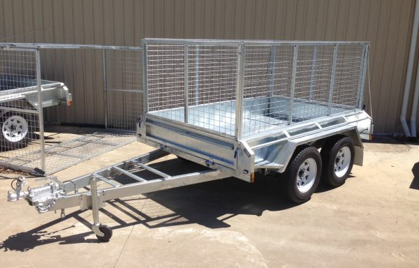 8x5ft Galvanized Tandem Trailer with brakes and 900mm Cage