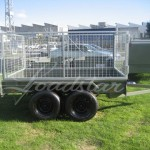 Caged 8x5 Tandem door trailer side view