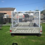 Caged 8x5 Tandem door trailer rear view
