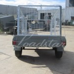 Caged 7x4 Single door trailer rear view