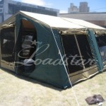Camper open side view